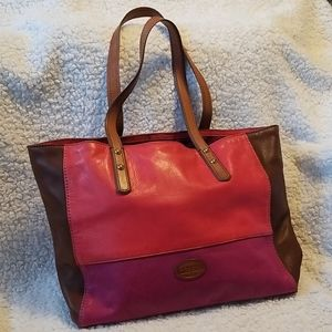 Vintage Fossil Colorblock Tote
